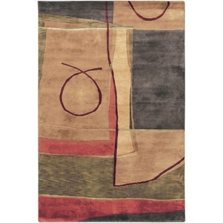 Hand-knotted Krui Beige Abstract Geometric Wool Rug (2' x 3')