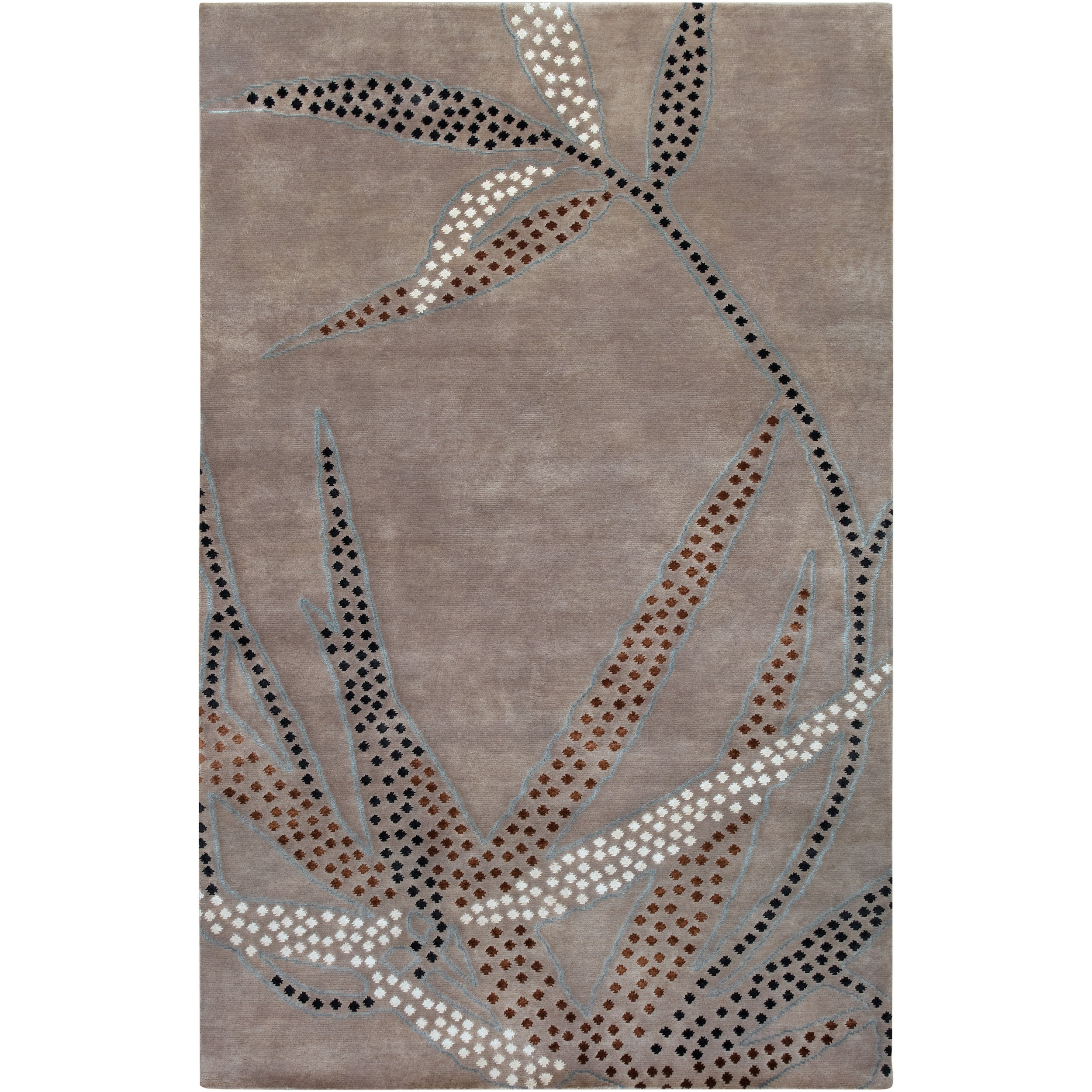 SURYA Collection Hand-knotted Kyle Grey Floral Wool Rug (...