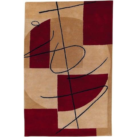 Porch & Den Whipple Handmade Burgundy Geometric Wool Area Rug - 2' x 3'