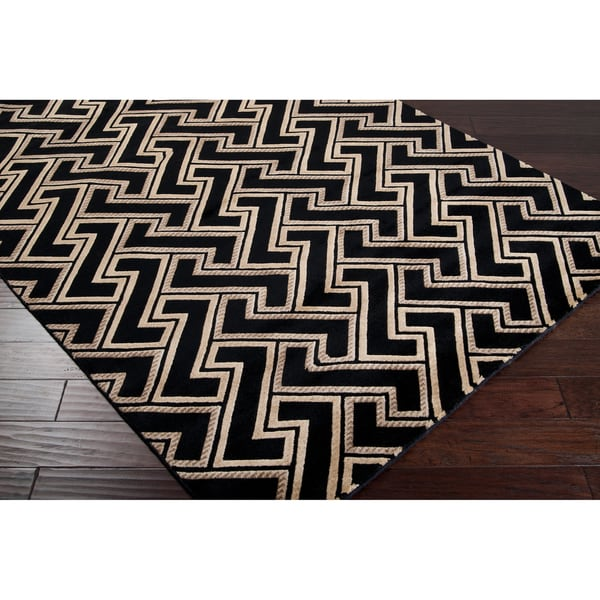 Hand-knotted Krugerville Black Basketweave Wool Rug (2' x 3')