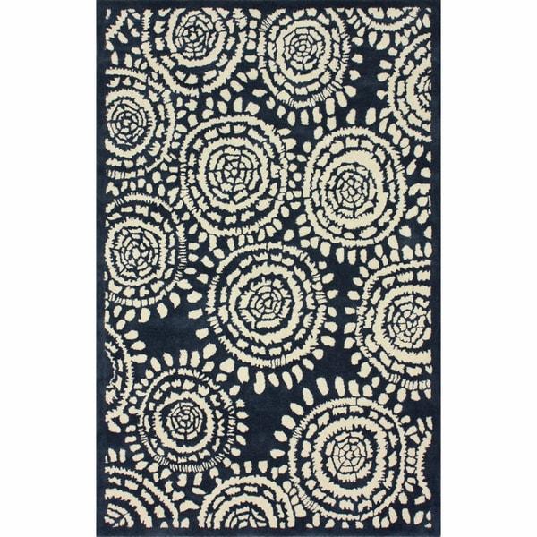 nuLOOM Handmade Ink Print Blue Wool Rug (7'6 x 9'6)