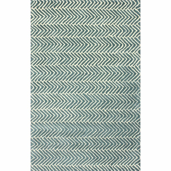 nuLOOM Handmade Chevron Light Blue Wool Rug (7'6 x 9'6)