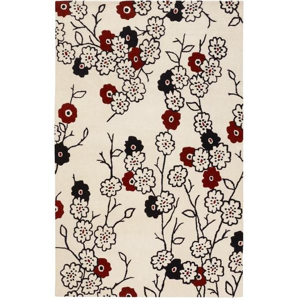 Hand-tufted Leavenworth White Wool Rug (2' x 3')