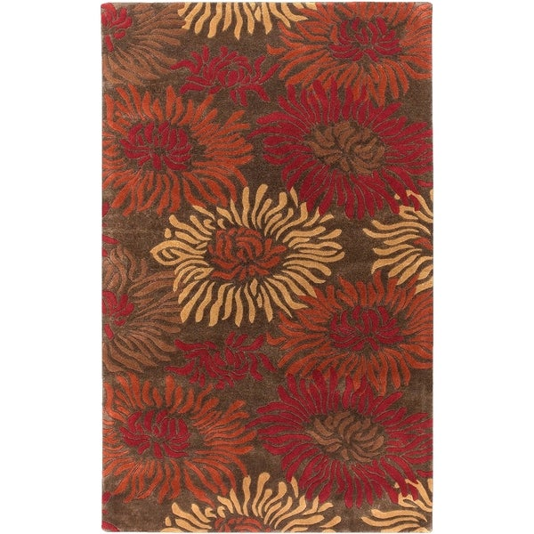 Hand-tufted Lipan Brown Floral Wool Rug (2' x 3')