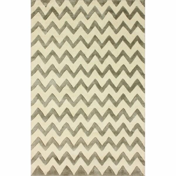 nuLOOM Handmade Chevron Grey Faux Silk/ Wool Rug (7'6 x 9'6)