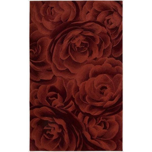 Nourison Hand-tufted Moda Red Petal Rug (3'6 x 5'6)