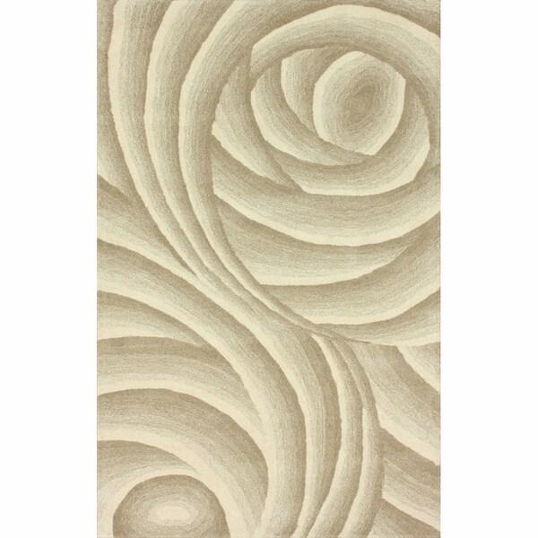 nuLOOM Handmade Swirls Natural New Zealand Wool Rug (7'6 x 9'6)