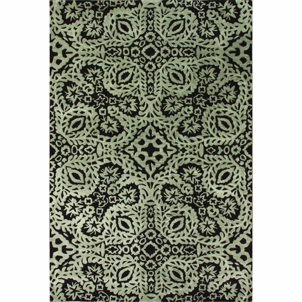 nuLOOM Handmade Lace Black Wool Rug (5' x 8')