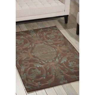 Nourison Hand-tufted Moda Turquoise Chocolate Rug (3'6 x 5'6)