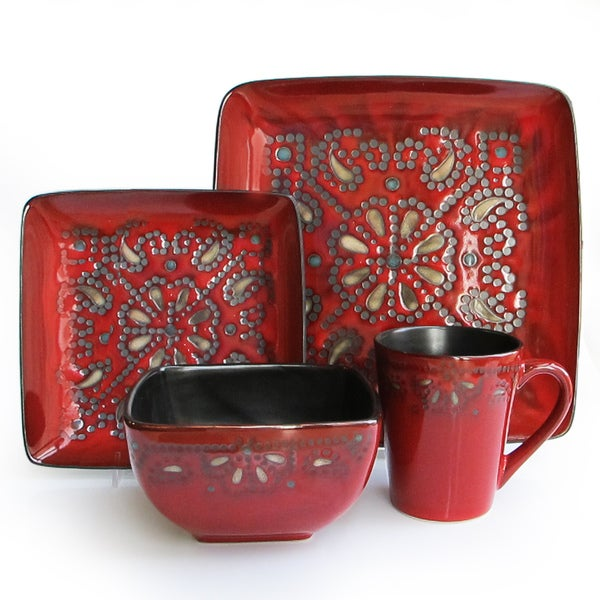 American Atelier Marquee Red 16 Piece Dinnerware Set