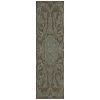 Nourison Hand-tufted Moda Turquoise Chocolate Rug (2'3 x 8')