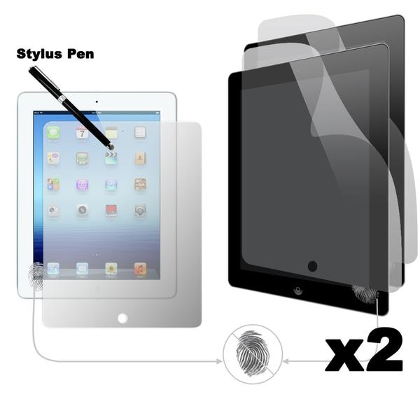 Apple iPad 2 / 3 Anti-Fingerprint Screen Protector (2 Pack) with Dual-Purpose Stylus Pen