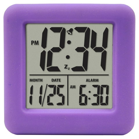 Equity by La Crosse 70904 Soft Purple Cube LCD Alarm Clock