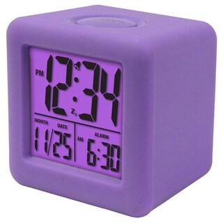Soft Purple Cube LCD Alarm Clock