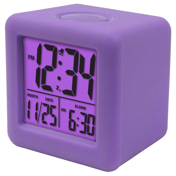Soft Purple Cube LCD Alarm Clock