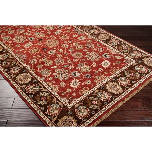 Hand-knotted Monument Red Wool Rug (2' x 3')
