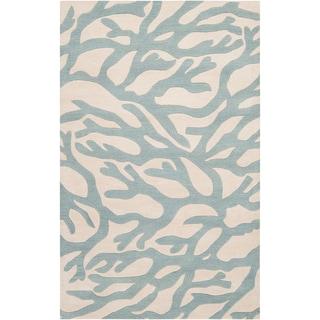 Hand-tufted Morton Blue Beach Inspired Wool Rug (2' x 3')
