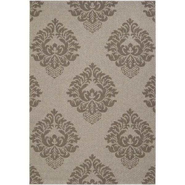 Murchison Grey Indoor/Outdoor Damask Pattern Rug (2'2 x 3'4)