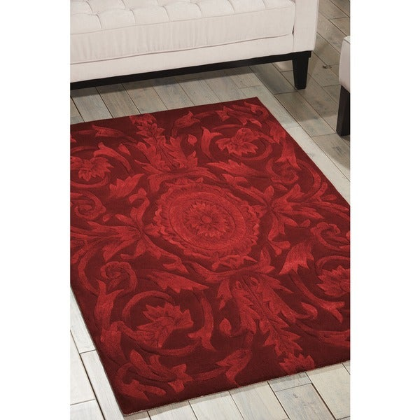 Nourison Hand-tufted Moda Medallion Ruby Red Rug (7'6 x 9'6)