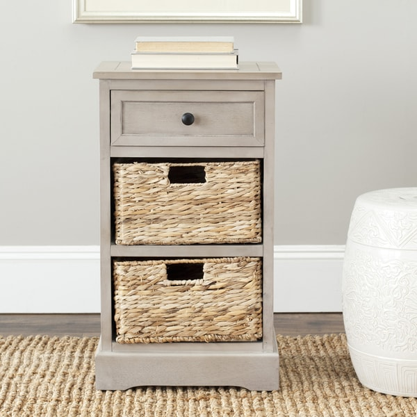 "Safavieh Cape Cod Grey 3-drawer Storage Table - 15.9"" x 13"" x 27.6"""