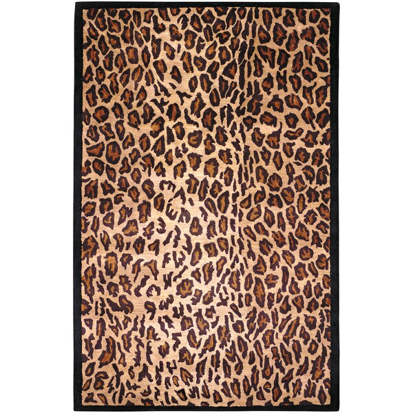 Hand-tufted Brown Leopard Animal Print Myall Wool Rug (2' x 3')