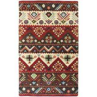 Hand-tufted Red Southwestern Aztec Myrtle New Zealand Wool Rug (2' x 3')