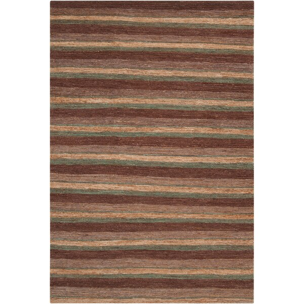 Hand-woven Newcastle Brown Natural Fiber Hemp Rug (2' x 3')
