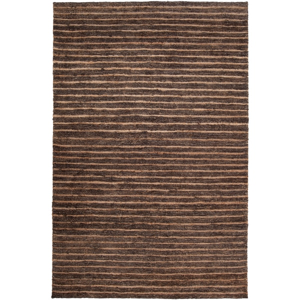 Hand-woven Newton Brown Natural Fiber Hemp Rug (2' x 3')