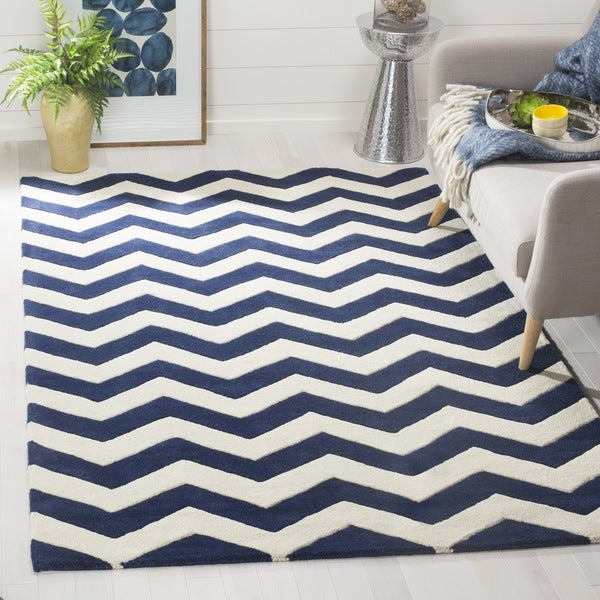 Safavieh Moroccan Blue And Black Area Rug: Safavieh Handmade Moroccan Chatham Chevron Dark Blue