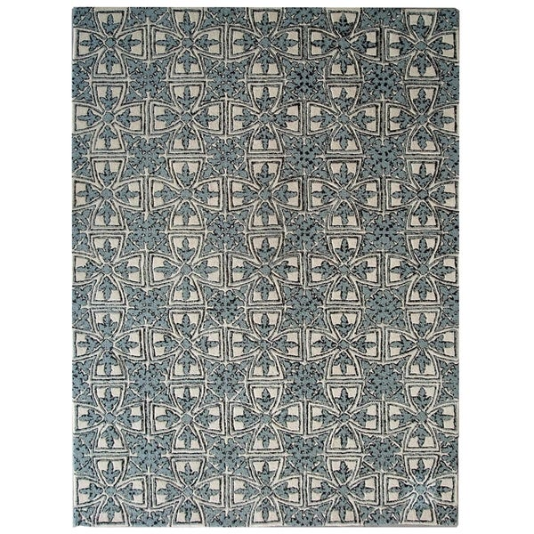 Safavieh Handmade Moroccan Chatham Majestic Light Blue/ Ivory Wool Rug (4' x 6')