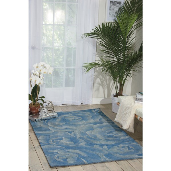 Nourison Hand-tufted Moda Light Blue Petal Rug (8' x 11')