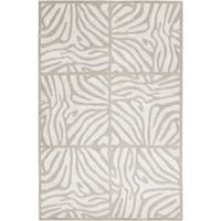 Hand-knotted Olmos White Animal Pattern Wool Area Rug - 2' x 3'