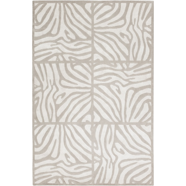 Hand-knotted Olmos White Animal Pattern Wool Rug (2' x 3')