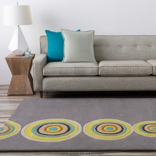 Hand-tufted Omak Grey Geometric Circles Wool Area Rug - 2' x 3'
