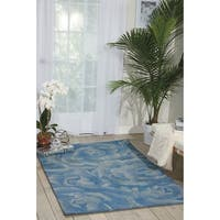 Nourison Hand-tufted Moda Light Blue Petal Rug (7'6 x 9'6)