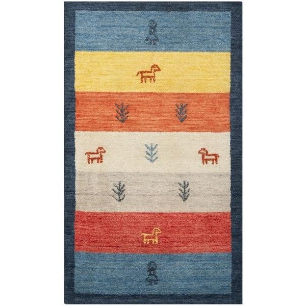 Safavieh Handmade Gabeh Journey Bluel Wool Rug (3' x 5')