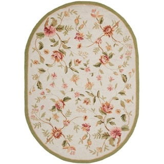 Safavieh Hand-hooked Garden Ivory Wool Rug (7'6 x 9'6 Oval)