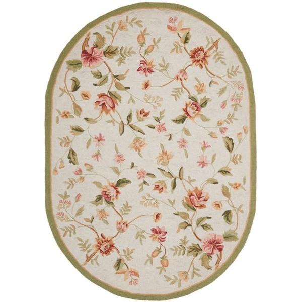 Safavieh Hand-hooked Garden Ivory Wool Rug (7'6 x 9'6 Oval)