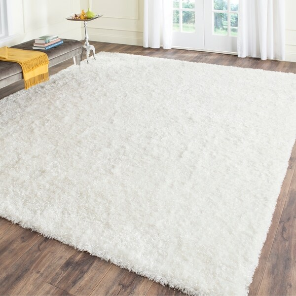 Safavieh Handmade Malibu Shag White Polyester Rug - 8'6 x 12'