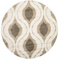 Safavieh Florida Shag Cream/ Smoke Geometric Ogee Round Rug - 5' x 5' round