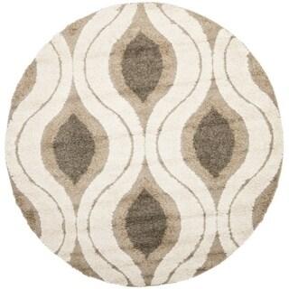 Safavieh Florida Shag Cream/ Smoke Geometric Ogee Round Rug (5' Round)