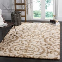 "Safavieh Florida Shag Cream/ Beige Damask Area Rug - 9'6"" x 13'"