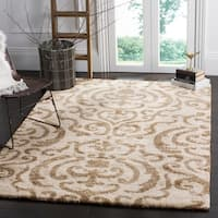 Safavieh Florida Shag Ornate Cream/ Beige Damask Area Rug - 11' x 15'