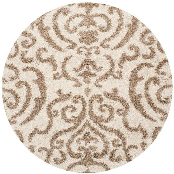 Safavieh Florida Shag Ornate Cream Beige Damask Round Rug 5 X27 X