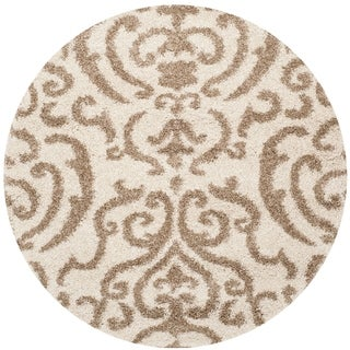 Safavieh Florida Shag Ornate Cream/ Beige Damask Round Rug (5' Round)