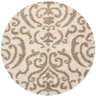Safavieh Florida Ornate Cream/ Beige Shag Rug (5' Round)