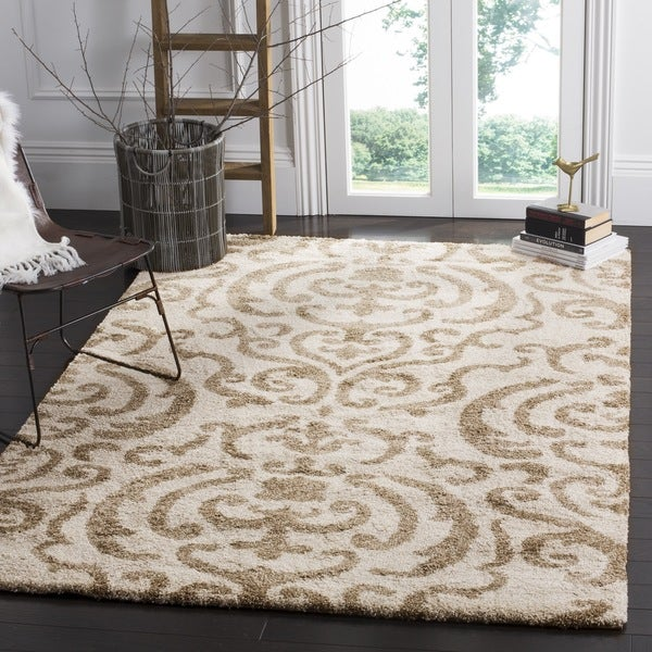 Safavieh Florida Shag Ornate Cream/ Beige Damask Square Rug (5' Square)