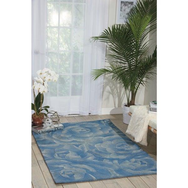 Nourison Hand-tufted Moda Light Blue Petal Rug (5'6 x 7'5)