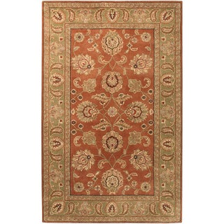 Hand-tufted Palm Red Wool Area Rug - 2' x 3'
