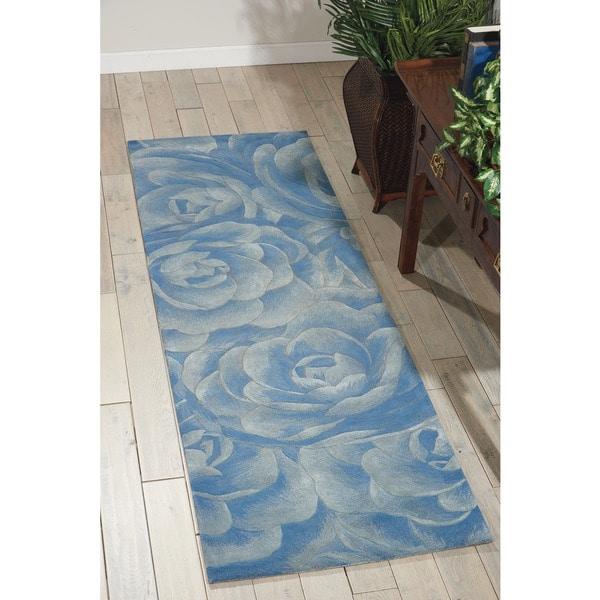 9x12 New Nourison Nourmak Hand Knotted Wool Reversible: Shop Nourison Hand-tufted Moda Light Blue Petal Rug